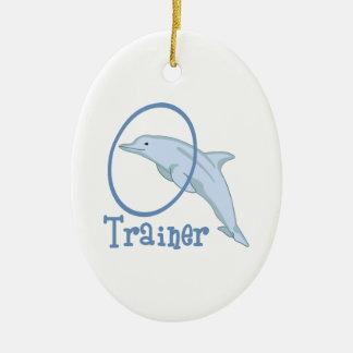 Instructor del delfín adorno navideño ovalado de cerámica