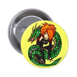 Instructor del dragón pin redondo 5 cm