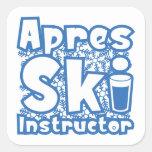 Instructor del esquí de Apres Pegatina Cuadrada