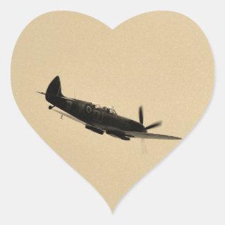 Instructor del Spitfire en vuelo Pegatina En Forma De Corazón