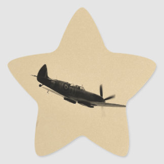 Instructor del Spitfire en vuelo Pegatina En Forma De Estrella
