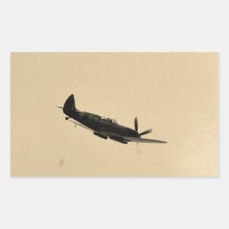 Instructor del Spitfire en vuelo Pegatina Rectangular