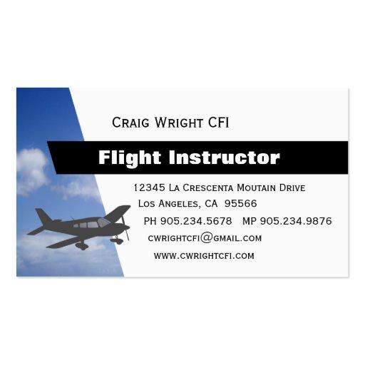 Instructor del vuelo de la aviación tarjetas de negocios