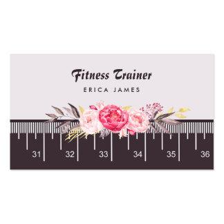 Instructor floral rosado elegante de la aptitud de tarjetas de visita