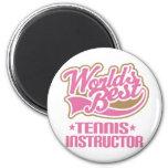Instructor lindo del tenis imán para frigorífico