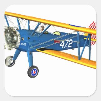 Instructor militar azul y amarillo del vuelo pegatina cuadrada