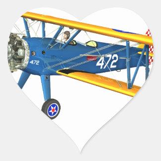 Instructor militar azul y amarillo del vuelo pegatina en forma de corazón