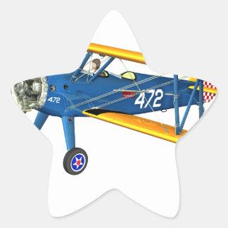 Instructor militar azul y amarillo del vuelo pegatina en forma de estrella