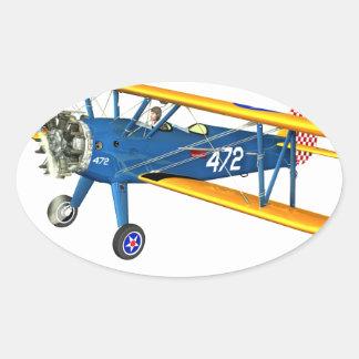 Instructor militar azul y amarillo del vuelo pegatina ovalada