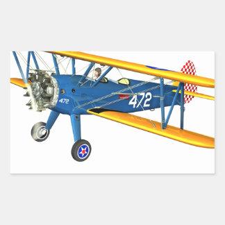 Instructor militar azul y amarillo del vuelo pegatina rectangular