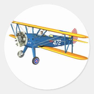 Instructor militar azul y amarillo del vuelo pegatina redonda
