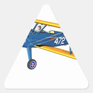 Instructor militar azul y amarillo del vuelo pegatina triangular