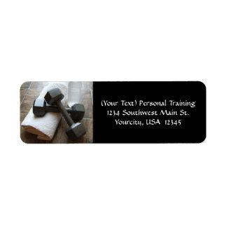 Instructor o toalla y agua personal de Dumbells de Etiqueta De Remite