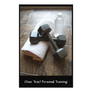 """Instructor o toalla y agua personal de Dumbells de Folleto 5.5"""" X 8.5"""""""