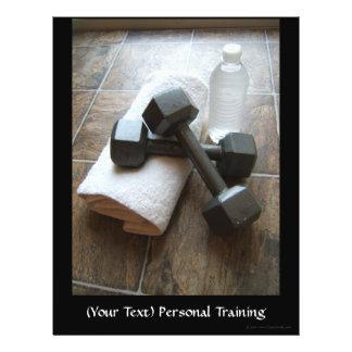 """Instructor o toalla y agua personal de Dumbells de Folleto 8.5"""" X 11"""""""