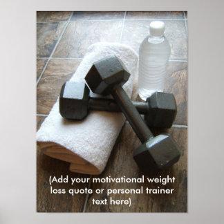 Instructor o toalla y agua personal de Dumbells de Poster