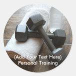 Instructor o toalla y agua personal de Dumbells de Etiqueta Redonda
