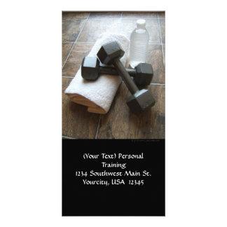 Instructor o toalla y agua personal de Dumbells de Tarjeta Fotográfica Personalizada