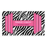 Instructor personal de moda del estampado de zebra tarjetas personales