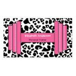 Instructor personal de moda del leopardo rosado y  plantillas de tarjetas personales