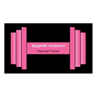 Instructor personal rosado y negro moderno tarjetas de visita