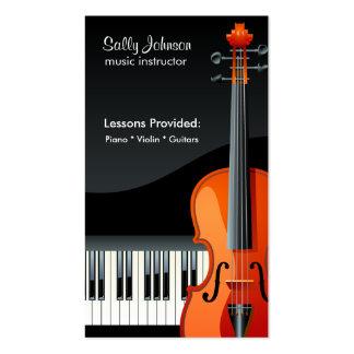 Instructor profesional de la música del piano y de plantilla de tarjeta de negocio