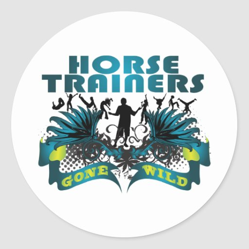 Instructores de caballo idos salvajes pegatina redonda