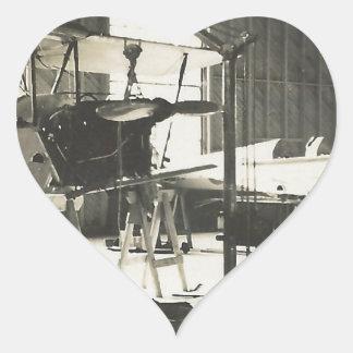 Instructores del biplano en 1941 pegatina en forma de corazón