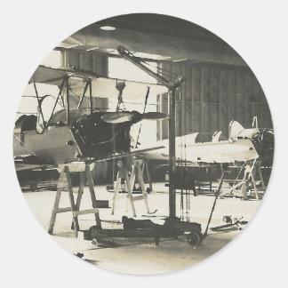 Instructores del biplano en 1941 pegatina redonda