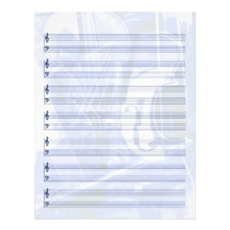 Instrument-Themed Staff Paper in Blue