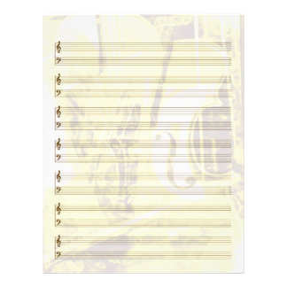 Instrument-Themed Staff Paper in Gold
