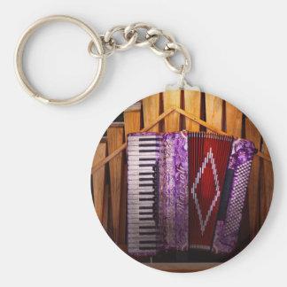 Instrumento - Accordian - el órgano accordian Llavero Redondo Tipo Pin