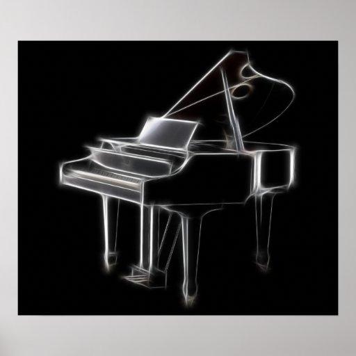 Instrumento clásico musical del piano de cola impresiones