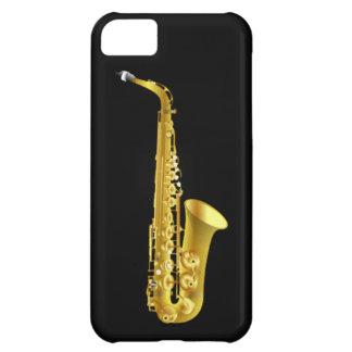 Instrumento de música de cobre amarillo del saxofó funda para iPhone 5C