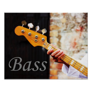 Instrumento de música de la guitarra baja póster