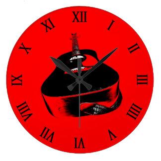 Instrumento de música de neón rojo de la guitarra reloj redondo grande
