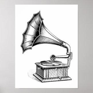 Instrumento de música del tocadiscos del fonógrafo póster