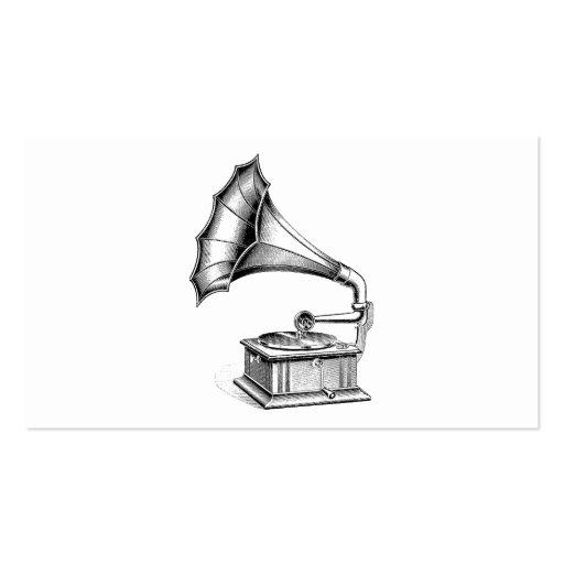 Instrumento de música del tocadiscos del fonógrafo plantillas de tarjetas de visita