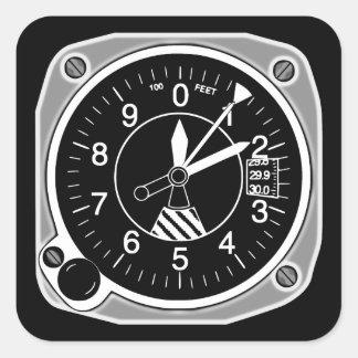 Instrumento del altímetro de los aviones calcomania cuadrada personalizada