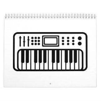 Instrumento del piano del teclado calendario de pared