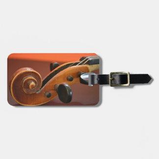 Instrumento musical atado clásico del violín etiquetas de equipaje