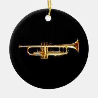 Instrumento musical del viento del cuerno de cobre adorno navideño redondo de cerámica