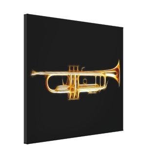 Instrumento musical del viento del cuerno de cobre impresiones en lona