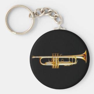 Instrumento musical del viento del cuerno de cobre llavero redondo tipo pin
