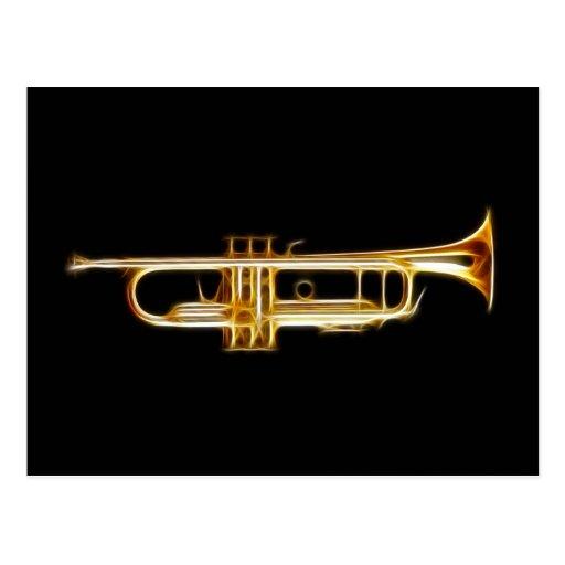 Instrumento musical del viento del cuerno de cobre tarjeta postal