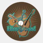 Instrumentos de Bluegrass Pegatina Redonda
