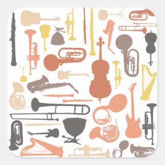 Instrumentos de música pegatina cuadrada