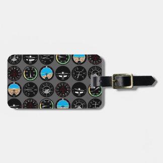 Instrumentos del vuelo etiqueta para equipaje