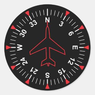 Instrumentos del vuelo pegatina redonda