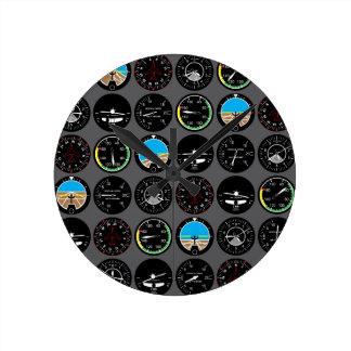 Instrumentos del vuelo reloj redondo mediano